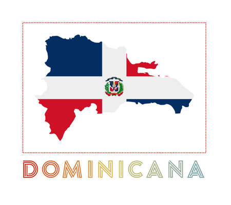 Dominicana . Map of Dominicana with country name and flag. Vibrant vector illustration.