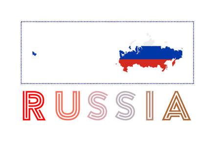 Russia  . Map of Russia with country name and flag. Trendy vector illustration. Иллюстрация