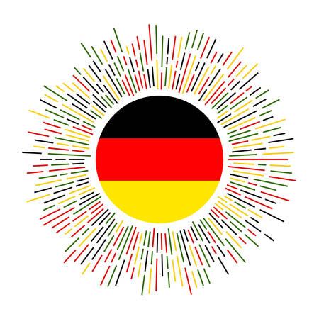 Germany sign. Country flag with colorful rays. Radiant sunburst with Germany flag. Vector illustration. Illusztráció