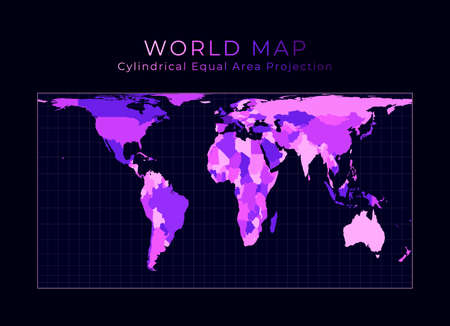 World Map. Cylindrical equal-area projection. Digital world illustration. Bright pink neon colors on dark background. Vibrant vector illustration.