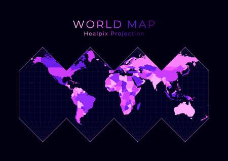 World Map.   Digital world illustration. Bright pink neon colors on dark background. Astonishing vector illustration. Illustration