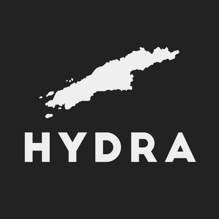 Hydra icon. Island map on dark background. Stylish Hydra map with island name. Vector illustration.