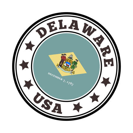 Delaware sign. Round us state   with flag of Delaware. Vector illustration.