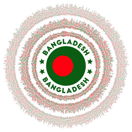 Bangladesh symbol. Radiant country flag with colorful rays. Shiny sunburst with Bangladesh flag. Vibrant vector illustration.