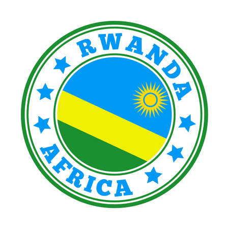Rwanda sign. Round country   with flag of Rwanda. Vector illustration. Фото со стока - 138385501