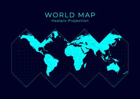 Map of The World. HEALPix projection. Futuristic Infographic world illustration. Bright cyan colors on dark background. Astonishing vector illustration.