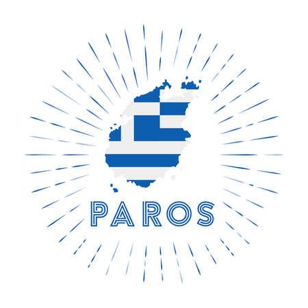 Paros sunburst badge. The island sign with map of Paros with Greek flag.   Vector illustration. Archivio Fotografico - 138458242