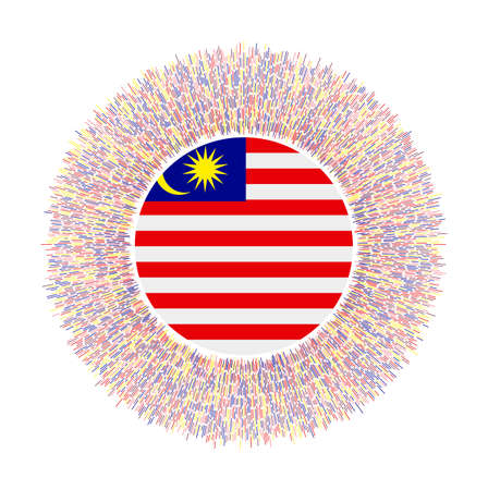 Flag of Malaysia with colorful rays. Radiant country sign. Shiny sunburst with Malaysia flag. Vibrant vector illustration. Stock Illustratie