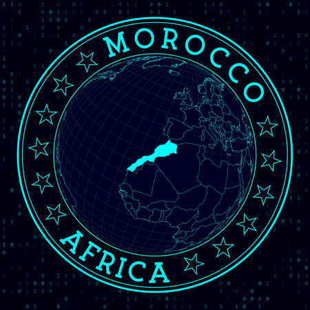 Morocco round sign. Futuristic satelite view of the world centered to Morocco. Country badge with map, round text and binary background. Charming vector illustration.