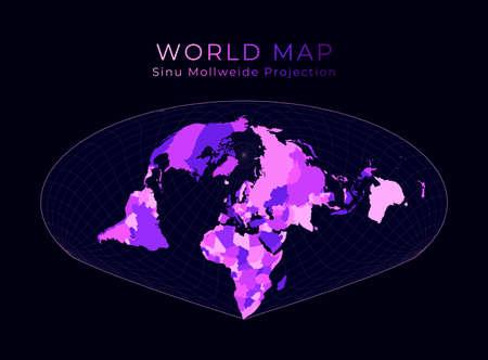 World Map. Allen K. Philbrick's Sinu-Mollweide projection. Digital world illustration. Bright pink neon colors on dark background. Appealing vector illustration.