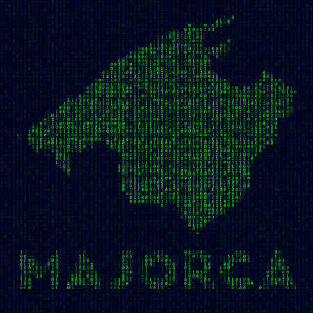 Island symbol in hacker style. Binary code map of Majorca with island name. Cool vector illustration. Ilustrace