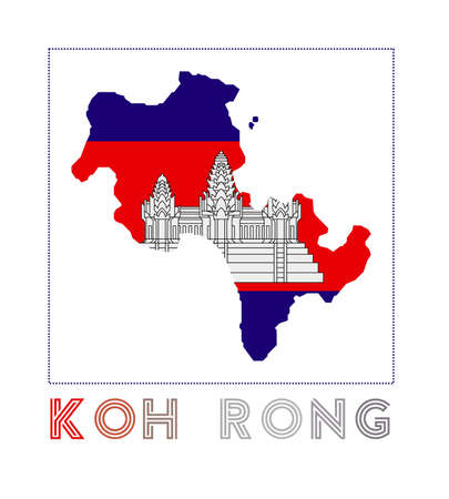 Map of Koh Rong with island name and flag. Modern vector illustration.