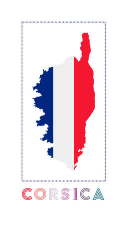 Map of Corsica with island name and flag. Trendy vector illustration.