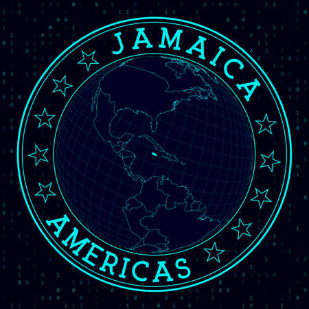 Jamaica round sign. Futuristic satelite view of the world centered to Jamaica. Country badge with map, round text and binary background. Elegant vector illustration.