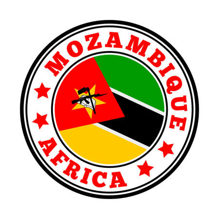 Mozambique sign. Round country   with flag of Mozambique. Vector illustration. Фото со стока - 138459178