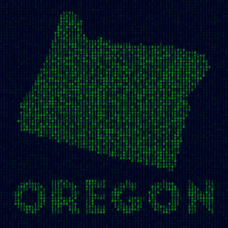 US state symbol in hacker style. Binary code map of Oregon with US state name. Powerful vector illustration. Ilustração