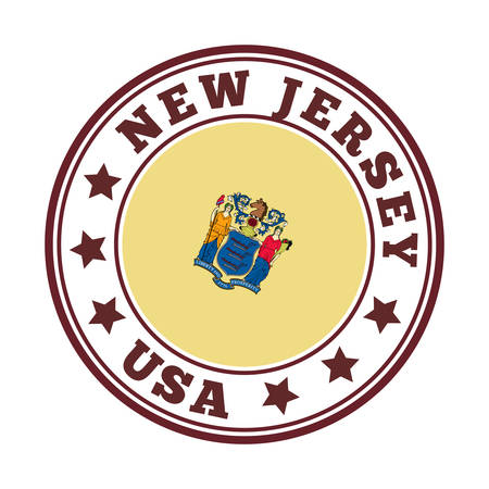 New Jersey sign. Round us state   with flag of New Jersey. Vector illustration. Фото со стока - 138460114