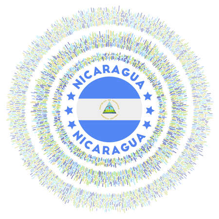 Nicaragua symbol. Radiant country flag with colorful rays. Shiny sunburst with Nicaragua flag. Appealing vector illustration.