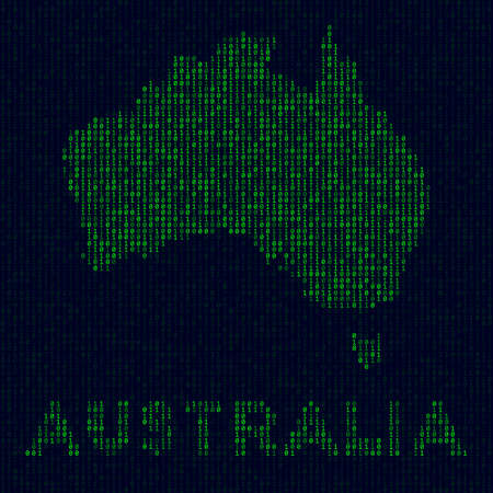 Digital Australia. Country symbol in hacker style. Binary code map of Australia with country name. Modern vector illustration.