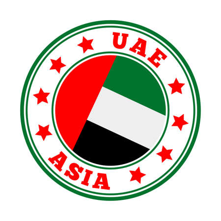 UAE sign. Round country   with flag of UAE. Vector illustration. Фото со стока - 138460122
