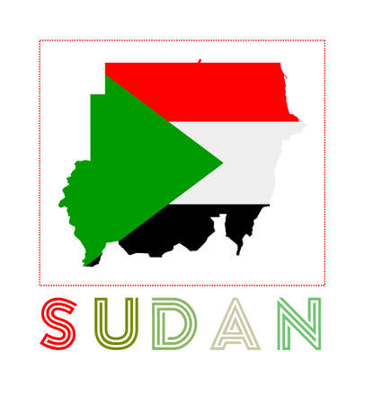 Map of Sudan with country name and flag. Artistic vector illustration.