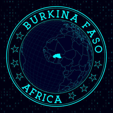 Burkina Faso round sign. Futuristic satelite view of the world centered to Burkina Faso. Country badge with map, round text and binary background. Modern vector illustration.