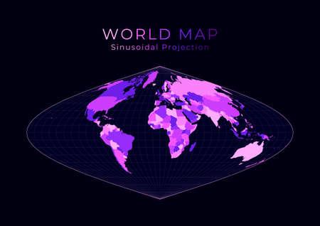 World Map. Sinusoidal projection. Digital world illustration. Bright pink neon colors on dark background. Artistic vector illustration.