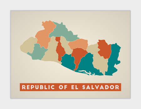 Republic of El Salvador poster. Map of the country with colorful regions. Shape of Republic of El Salvador with country name. Modern vector illustration.