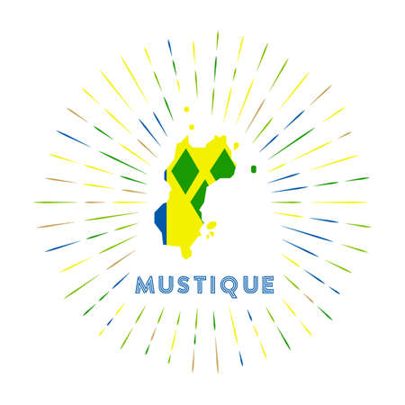 Mustique sunburst badge. The island sign with map of Mustique with Saint Vincentian flag.   Vector illustration. Archivio Fotografico - 138460131