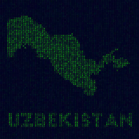Country symbol in hacker style. Binary code map of Uzbekistan with country name. Superb vector illustration.