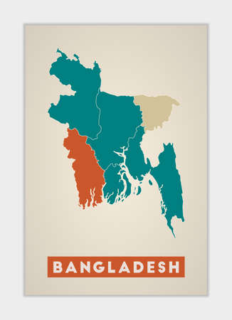 Bangladesh poster. Map of the country with colorful regions. Shape of Bangladesh with country name. Vibrant vector illustration.