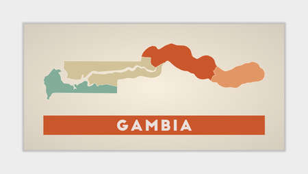 Gambia poster. Map of the country with colorful regions. Shape of Gambia with country name. Vibrant vector illustration.