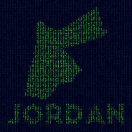 Country symbol in hacker style. Binary code map of Jordan with country name. Trendy vector illustration. 向量圖像