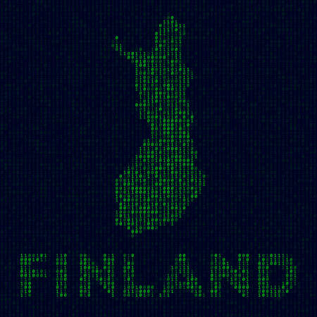 Country symbol in hacker style. Binary code map of Finland with country name. Elegant vector illustration.