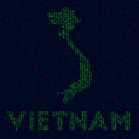 Country symbol in hacker style. Binary code map of Vietnam with country name. Vibrant vector illustration.