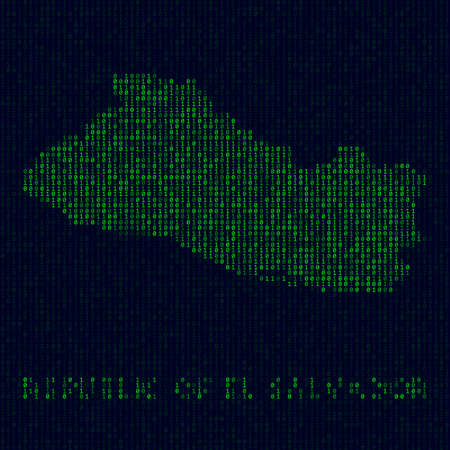 Digital Republic of El Salvador. Country symbol in hacker style. Binary code map of Republic of El Salvador with country name. Neat vector illustration.