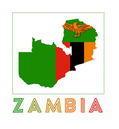 Map of Zambia with country name and flag. Neat vector illustration.