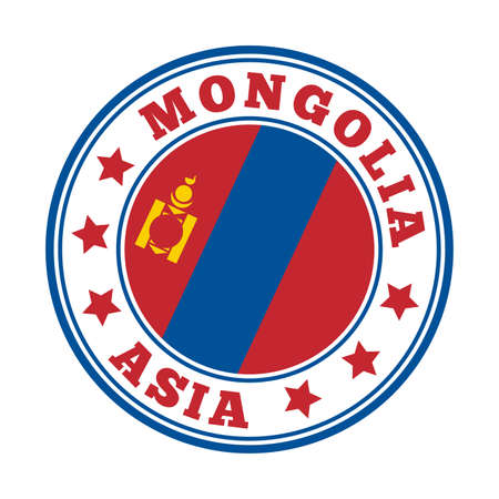 Mongolia sign. Round country logo with flag of Mongolia. Vector illustration. Ilustração