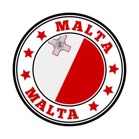 Malta sign. Round country logo with flag of Malta. Vector illustration. Ilustração