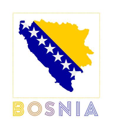 Bosnia Logo. Map of Bosnia with country name and flag. Stylish vector illustration. Illusztráció