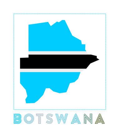 Botswana Logo. Map of Botswana with country name and flag. Astonishing vector illustration. Illusztráció