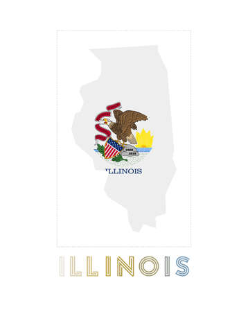 Illinois Logo. Map of Illinois with us state name and flag. Cool vector illustration.