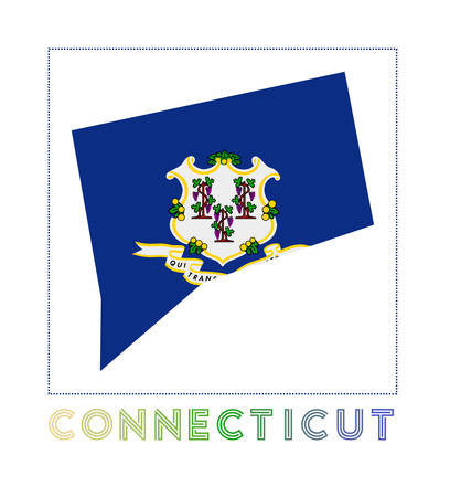 Connecticut Logo. Map of Connecticut with us state name and flag. Superb vector illustration. Illusztráció