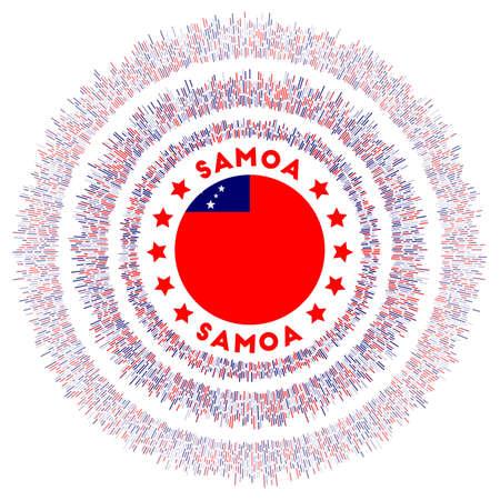 Samoa symbol. Radiant country flag with colorful rays. Shiny sunburst with Samoa flag. Charming vector illustration.
