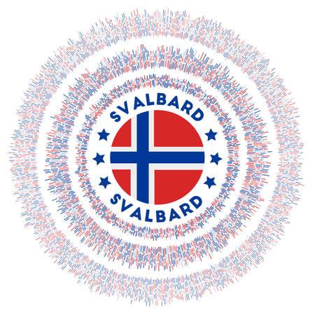 Svalbard symbol. Radiant country flag with colorful rays. Shiny sunburst with Svalbard flag. Classy vector illustration. Ilustração