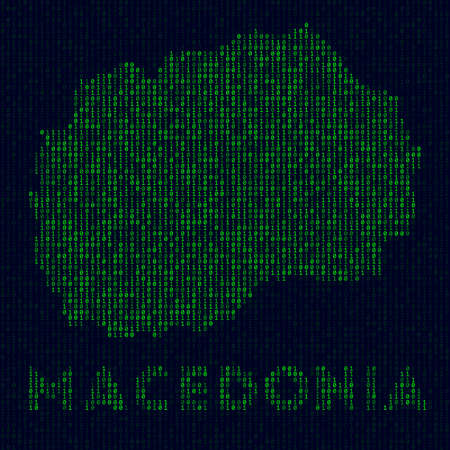 Digital Macedonia logo. Country symbol in hacker style. Binary code map of Macedonia with country name. Superb vector illustration. Ilustrace