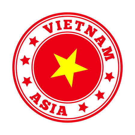 Vietnam sign. Round country logo with flag of Vietnam. Vector illustration.