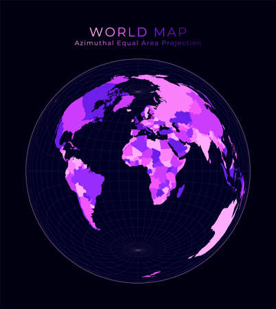 World Map. Lambert azimuthal equal-area projection. Digital world illustration. Bright pink neon colors on dark background. Authentic vector illustration.