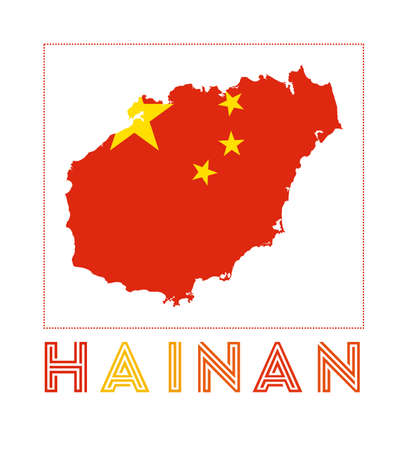 Hainan Logo. Map of Hainan with island name and flag. Radiant vector illustration. Ilustração