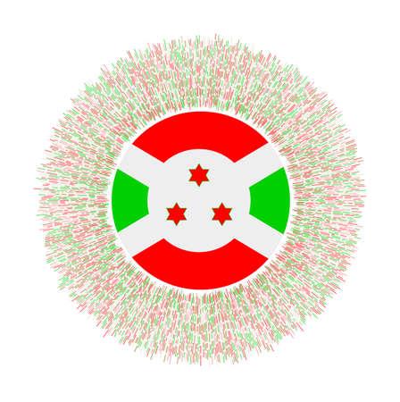 Flag of Burundi with colorful rays. Radiant country sign. Shiny sunburst with Burundi flag. Radiant vector illustration. Illusztráció